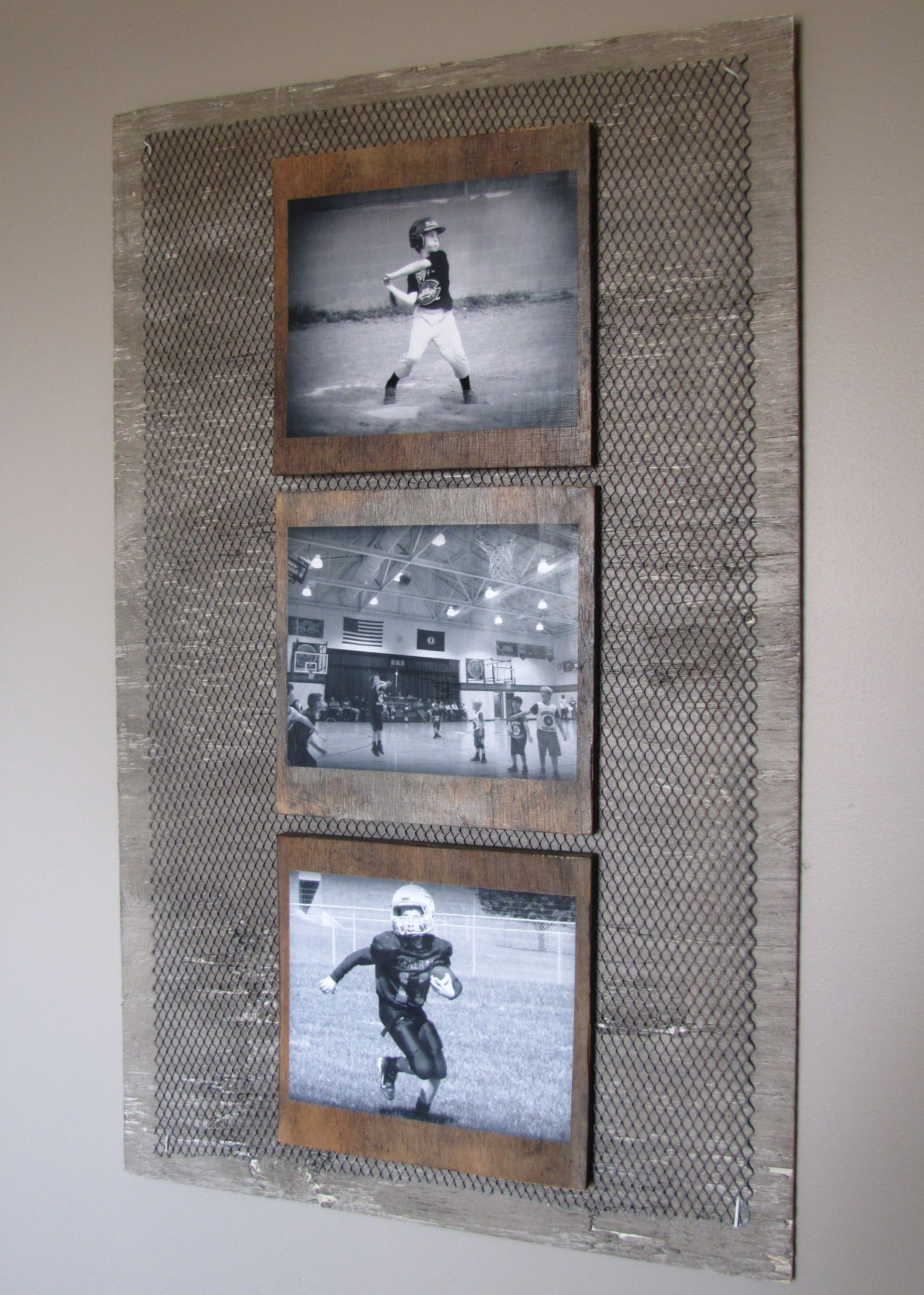 Diy Industrial Boys Room Wall Photo Collage I Antigued An