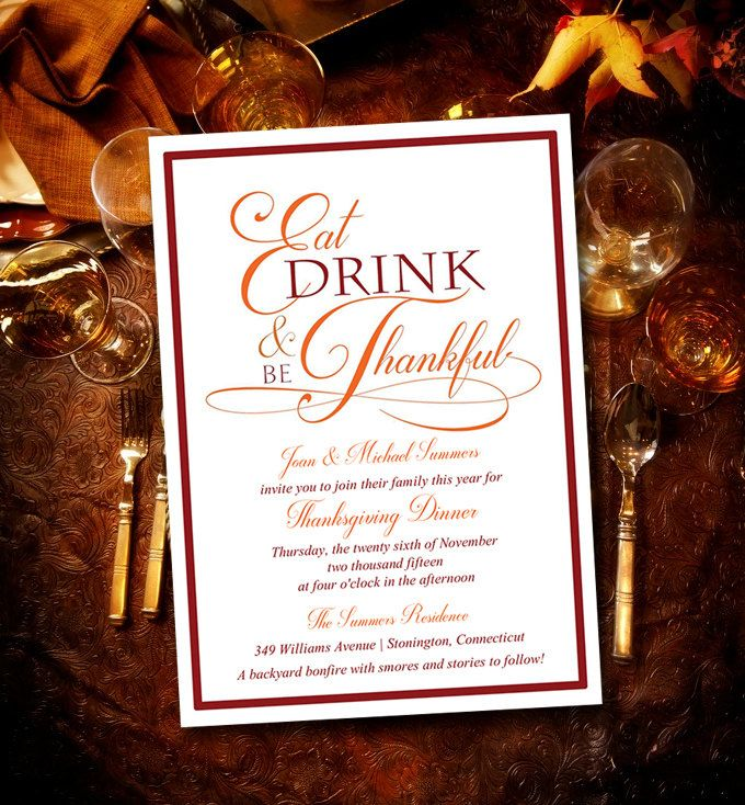 Thanksgiving Dinner Invitation Template - Eat Drink and be - dinner invitations templates