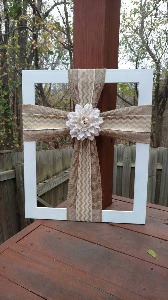 Burlap Cross Frame, Cross Frame, Burlap Cross on Wood Frame ...