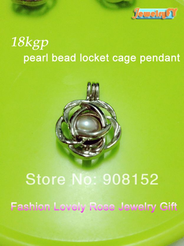 18kgp rose pearl bead locket cage pendant mounting for jewelry 18kgp rose pearl bead locket cage pendant mounting for jewelry bracelet necklace free aloadofball Image collections