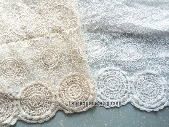 wedding gown bridal dress fabric scalloped home curtains decors SALE quality cotton embroidery lace fabric in vinatge beige style color