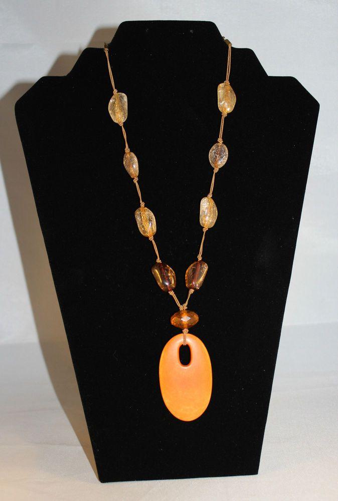 Vintage 20  Necklace with Orange Bakelite Pendant & Faux Crackle Beads