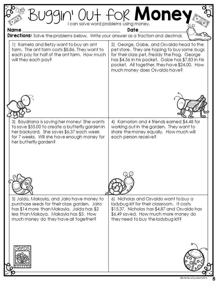 Fractions, Decimals, & Money Math word problems, Money