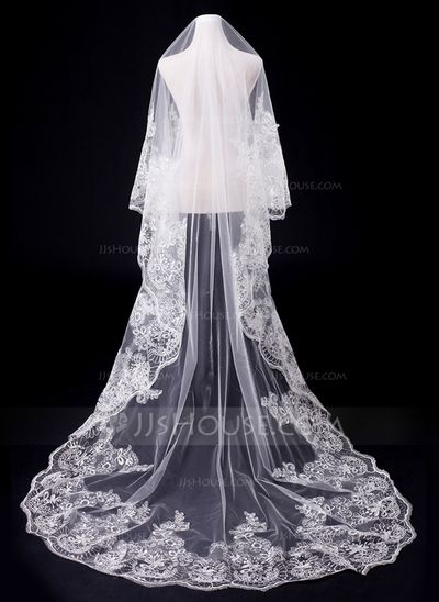 Wedding Veils - $38.99 - One-tier Cathedral Bridal Veils With Lace Applique Edge (006031064) http://jjshouse.com/One-Tier-Cathedral-Bridal-Veils-With-Lace-Applique-Edge-006031064-g31064
