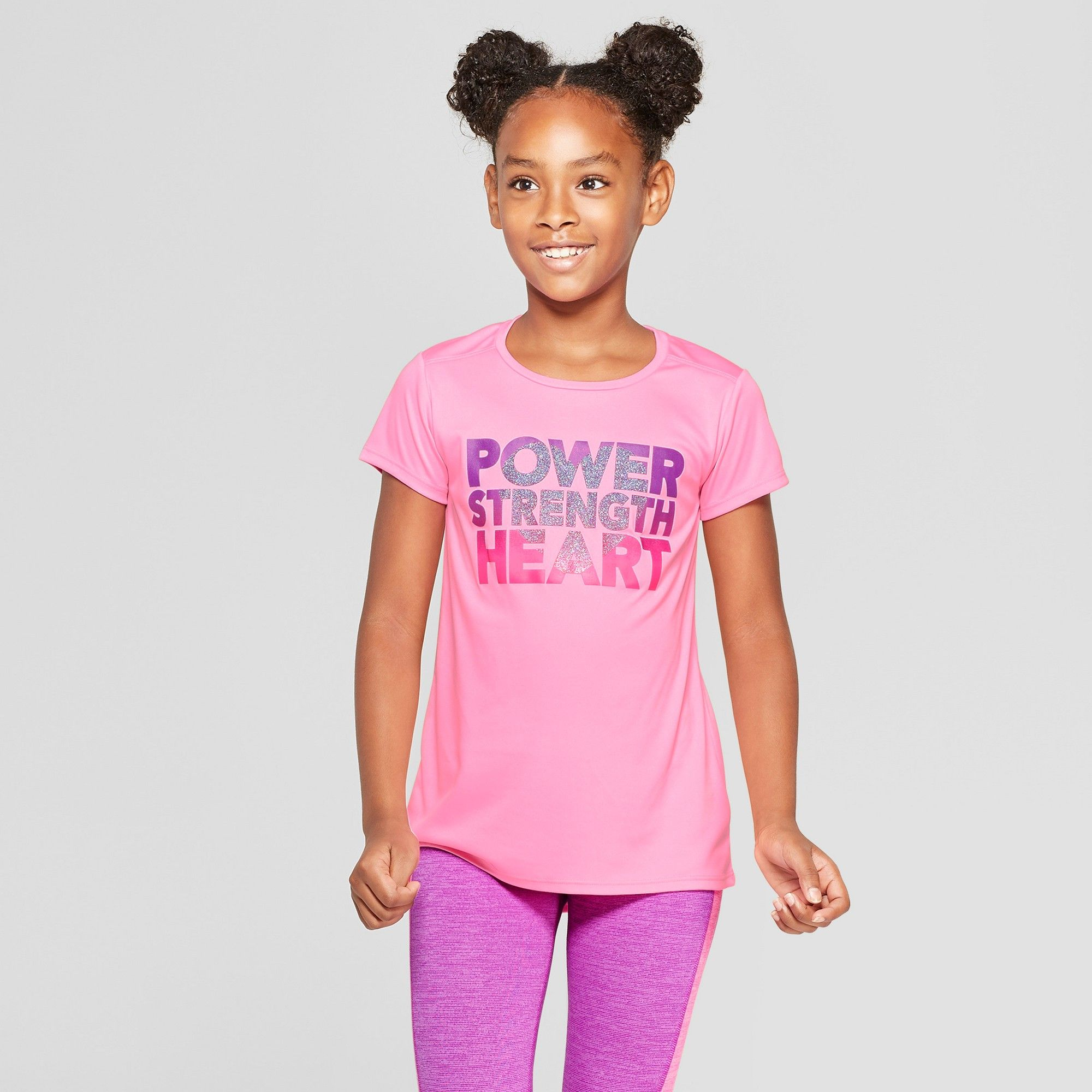 89e317e7 Girls' Power Strength Heart Graphic Tech T-Shirt - C9 Champion Light Pink XL