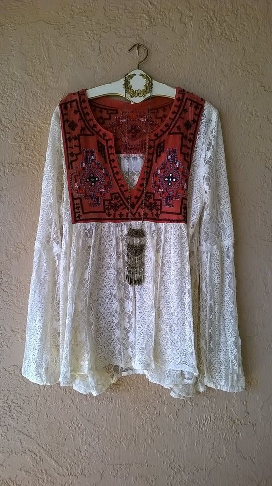 60a9a465b53a Free People tribal ethnic Peruvian embroidery gypsy French Lace bohemian  peasant blouse   Bohemian Angel Estilo
