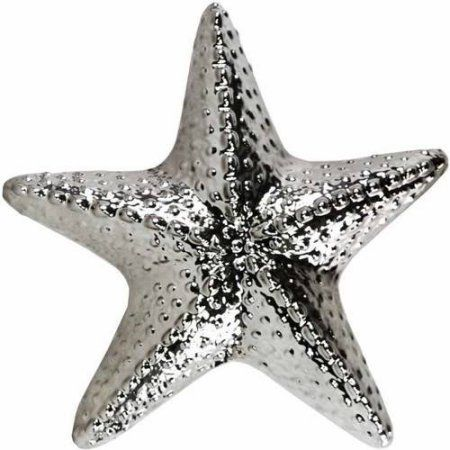 Urban Trends Collection: Ceramic Starfish Figurine, Gloss Finish, White, Silver