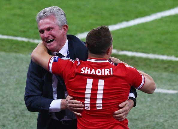 Head Coach Jupp Heynckes Of Bayern Muenchen Celebrates Victory With Xherdan Shaqiri After The Uefa Champions League Club World Cup Bayern Uefa Champions League