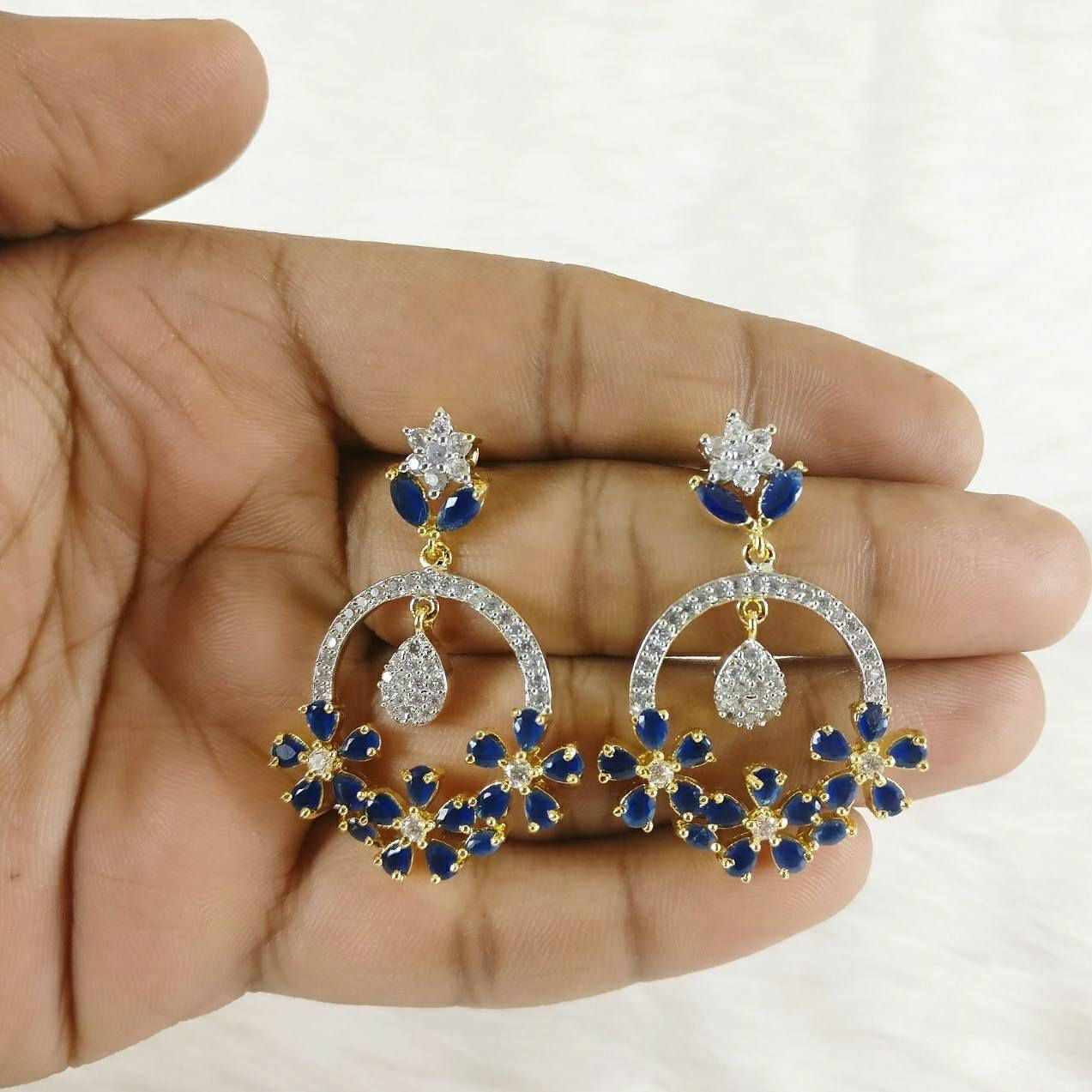 Cubic zirconia chandelier earrings fashion twotone gold earring cubic zirconia chandelier earrings fashion twotone gold earring pair sapphire stones round shaped jewellry by chizzyafriquejewel arubaitofo Images