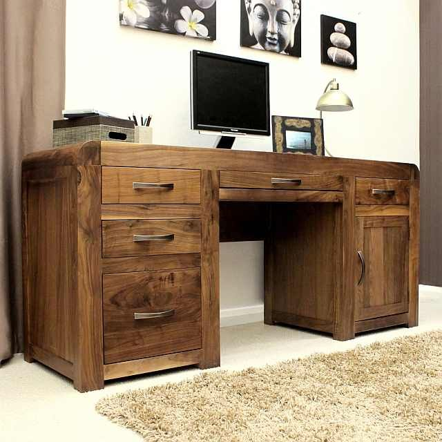 solid walnut hidden home office. Solid Walnut Twin Pedestal Computer Desk - Shiro At STORE. With Plenty Of Storage Space For Your Printer,. Hidden Home Office E