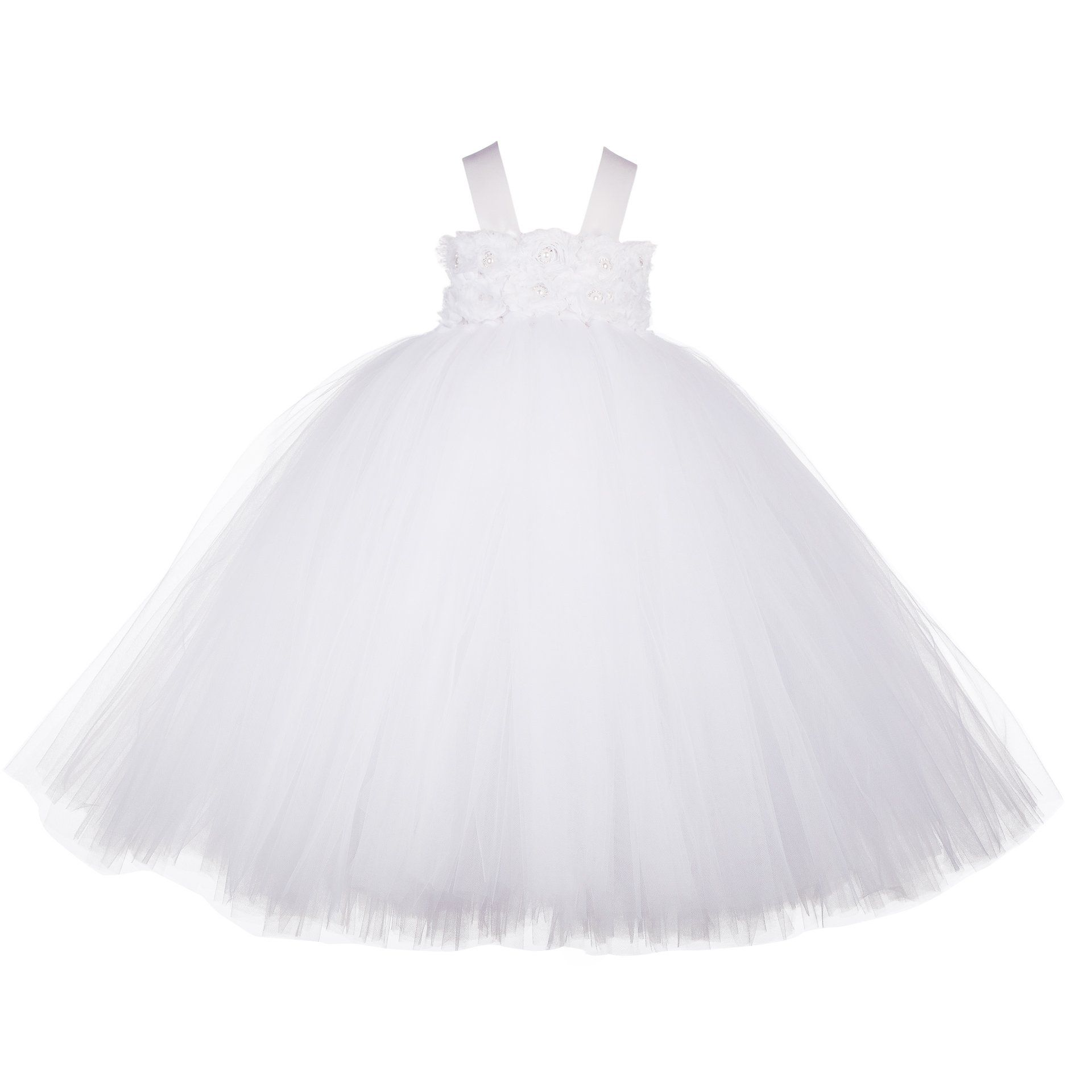22eecc1c9 Little Girls  Puffy Flower Girl Tutu Dresses 2 Rows 3D Rose Flowers ...