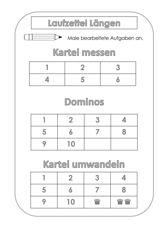 Laufzettel Längenpaket – Unterrichtsmaterial im Fach Mathematik ...