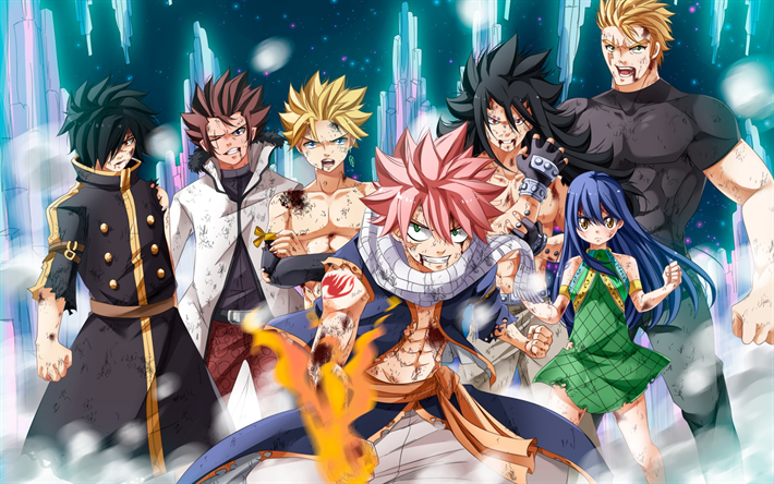 Download wallpapers Fairy Tail, Japanese manga, anime