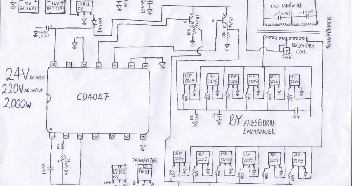 2000 watt inverter circuit diagram/ 24V 2KVA circuit