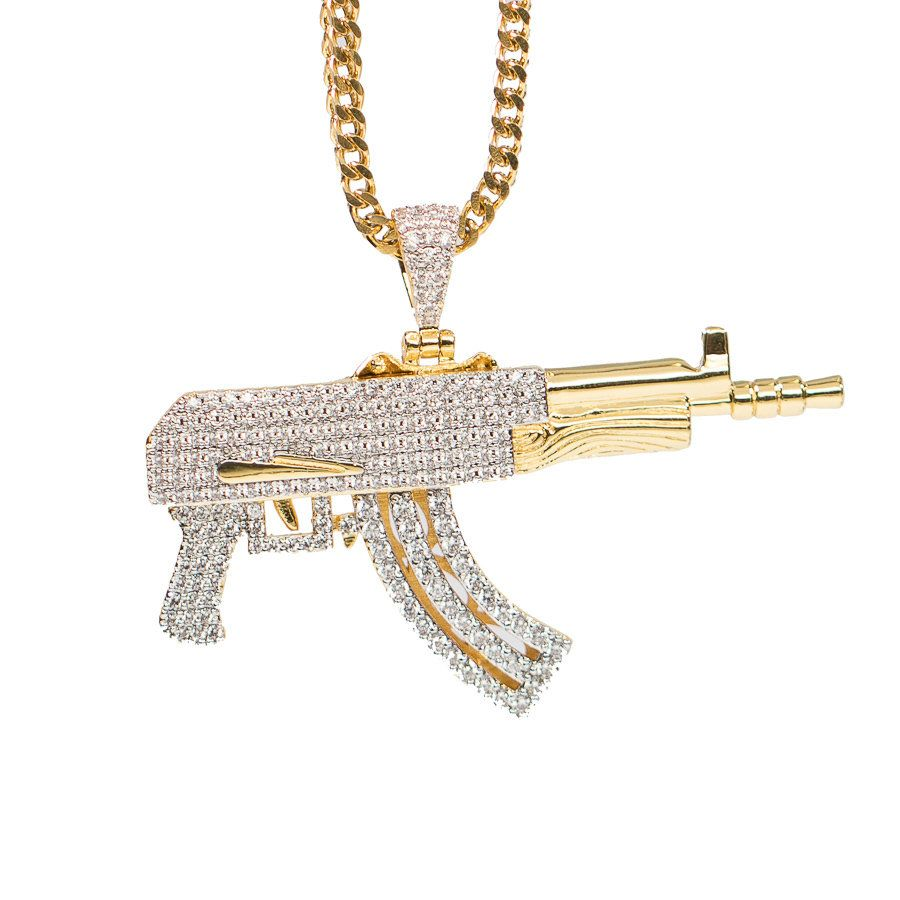 Fully Iced Out Gold Draco Pendant Necklace  bc0b53406ad6