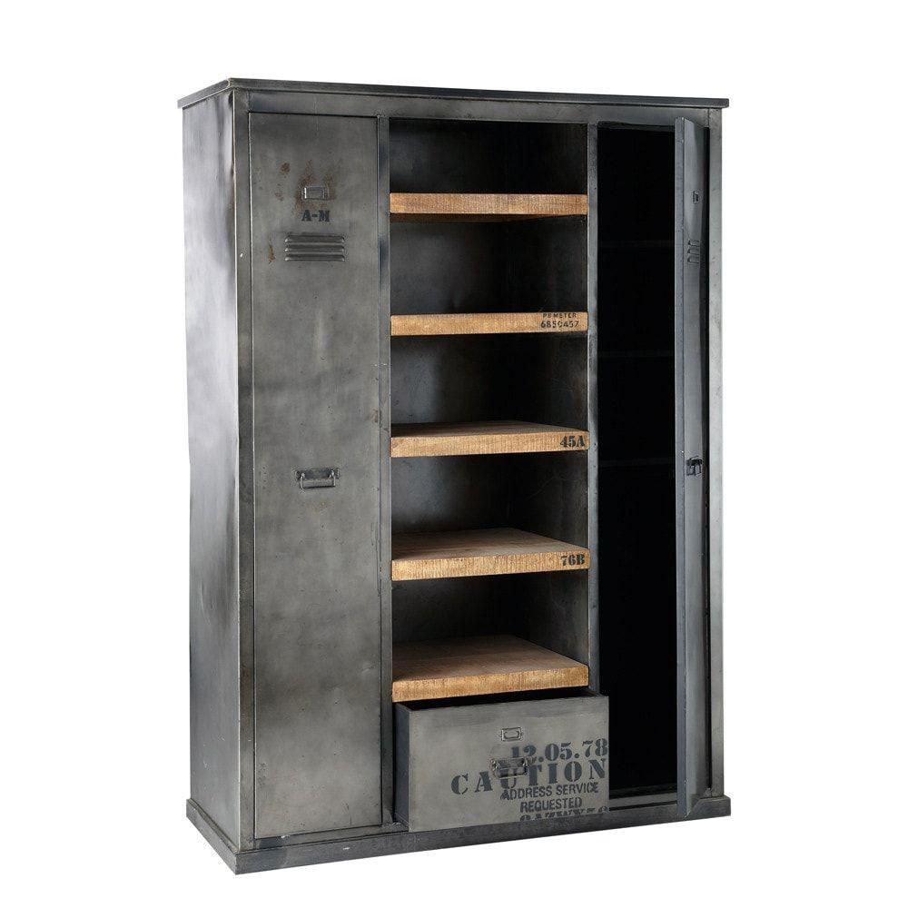 antiqued metal industrial closet w 135cm manufacture maisons du monde industrial look. Black Bedroom Furniture Sets. Home Design Ideas