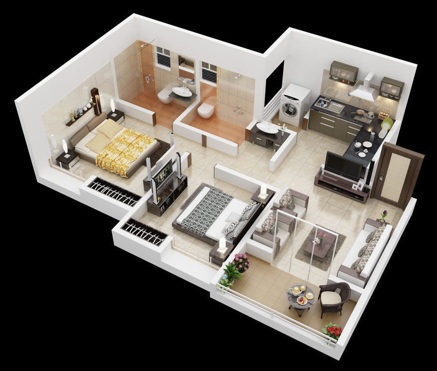 25 More 2 Bedroom 3d Floor Plans House Plans Two Bedroom House Bedroom House Plans