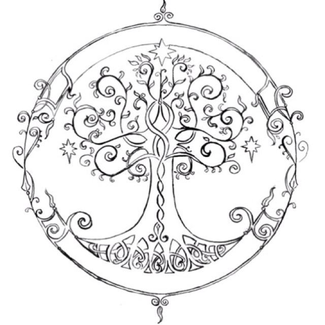 attractive celtic tree of life tattoo design trace. Black Bedroom Furniture Sets. Home Design Ideas
