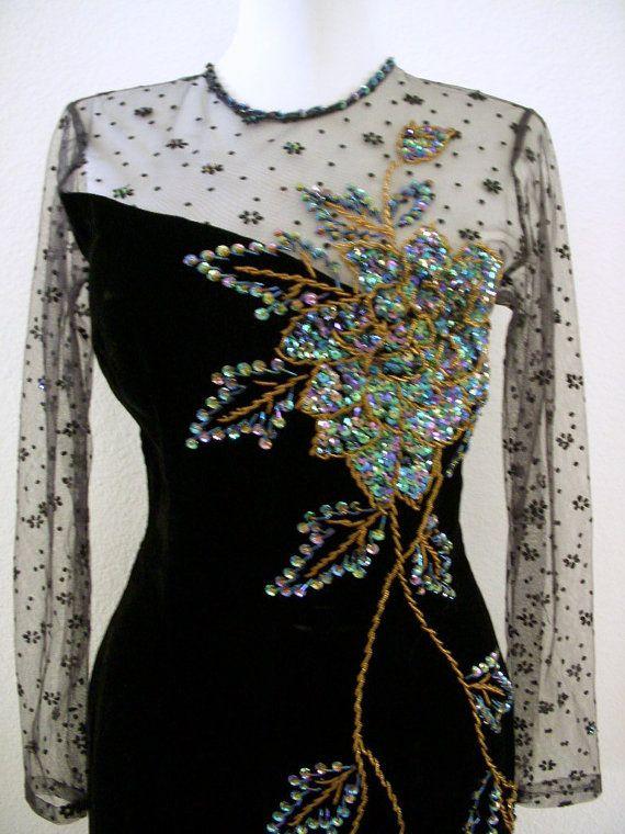 RESERVED Exquisite Vintage 60s Black Velvet by OmAgainVintage