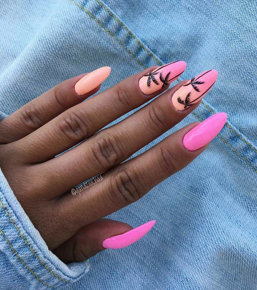 Tropical Nails In 2020 Palm Nails Summer Acrylic Nails Holiday Nails