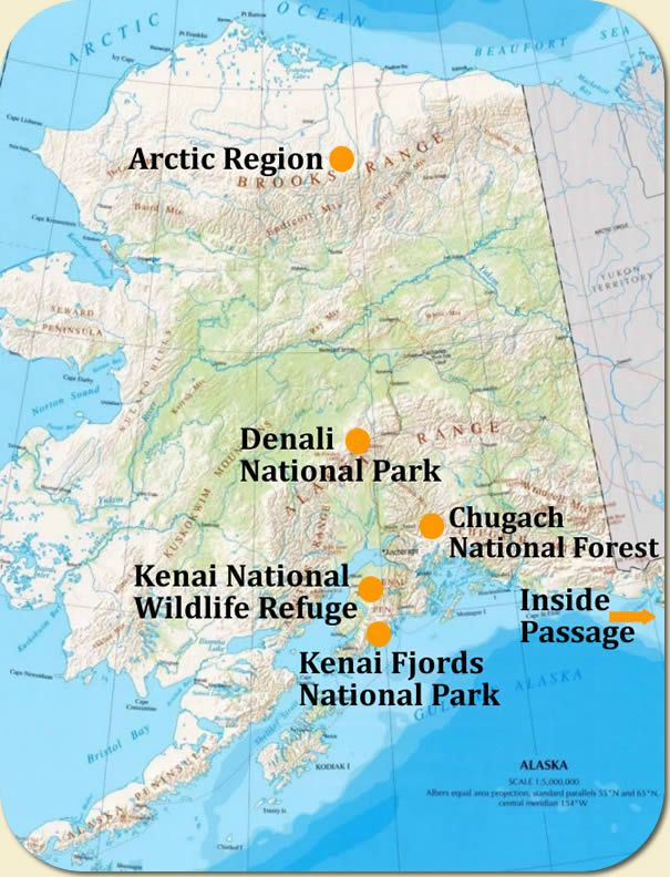 One Day Map Of Alaska Travel Destinations Public Lands Alaska