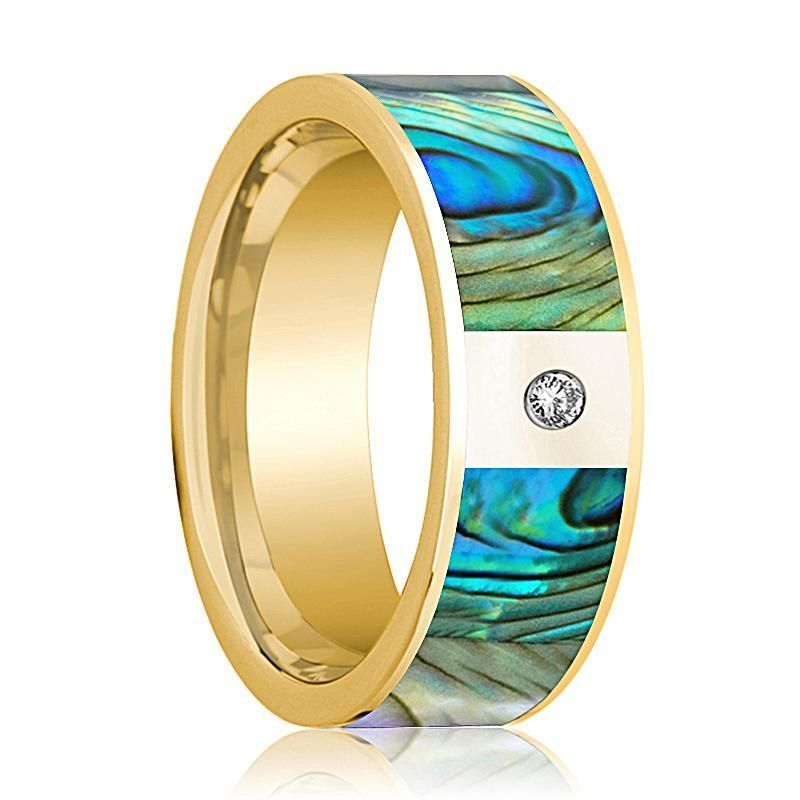 Mens 14k yellow gold flat wedding band with mother of