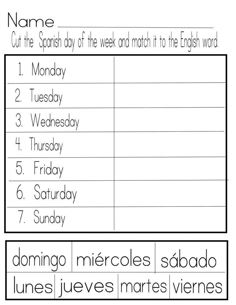 Days Of The Week Worksheets Spanish Lf Preschool