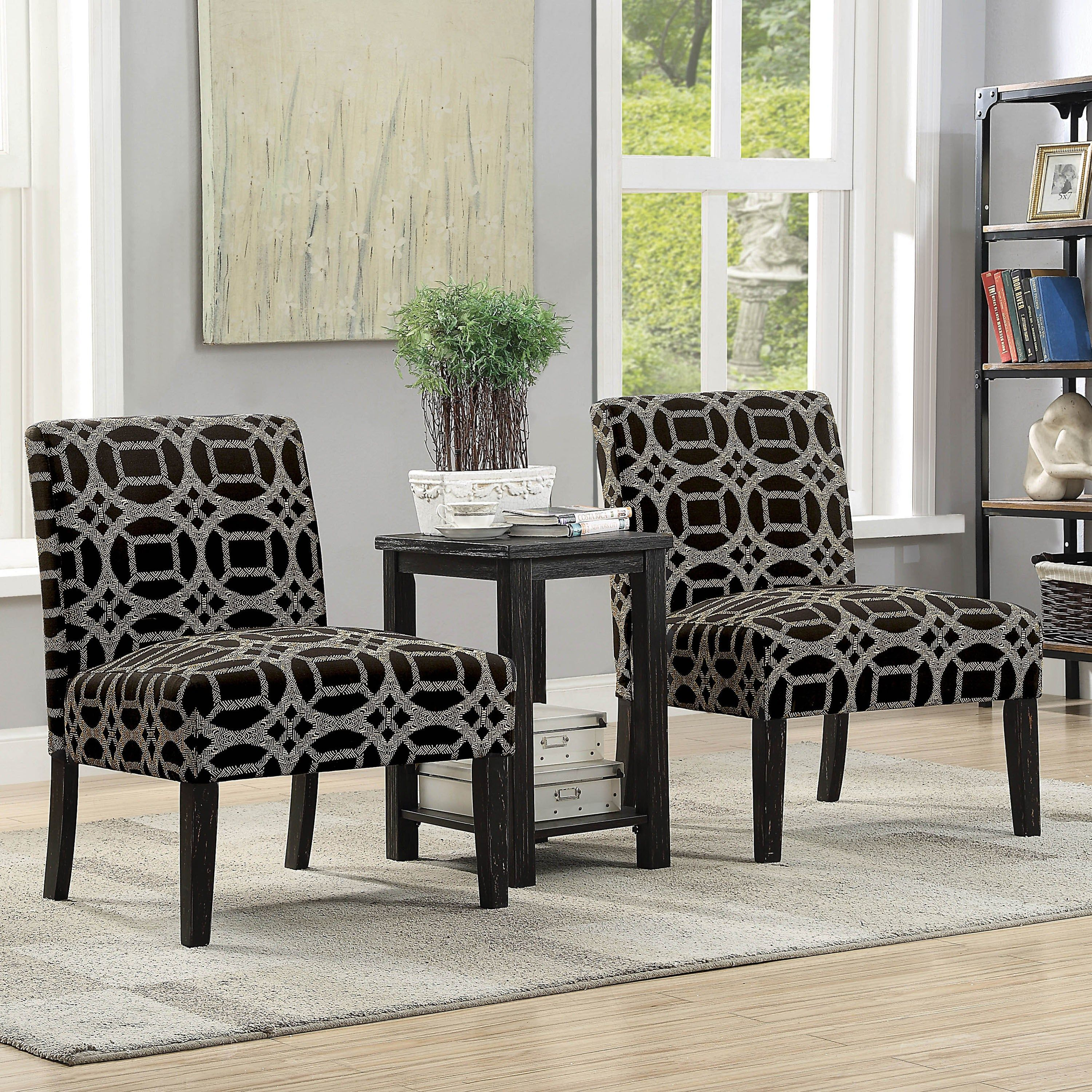 Braden Transitional Black 3 Piece Accent Chairs And Table Set By