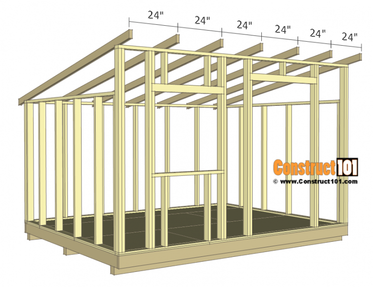 10x12 Lean To Shed Plans Construct101 Shed Design Shed Plans Diy Storage Shed