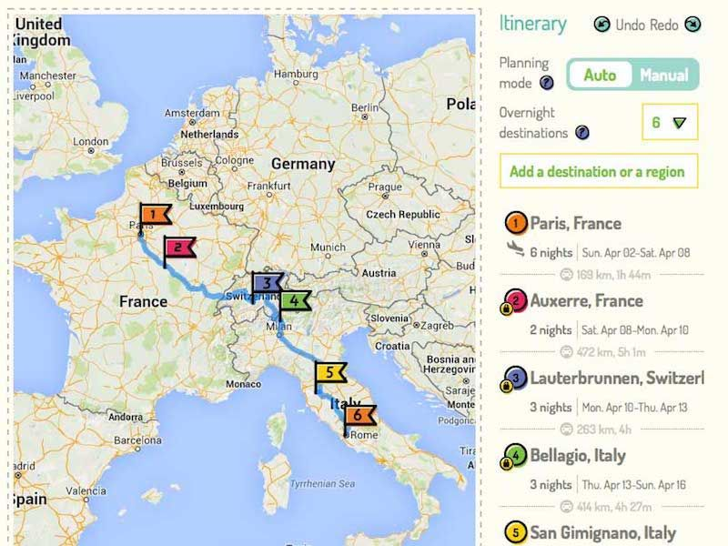 Route Perfect custom itinerary planner Backpacking Itinerary