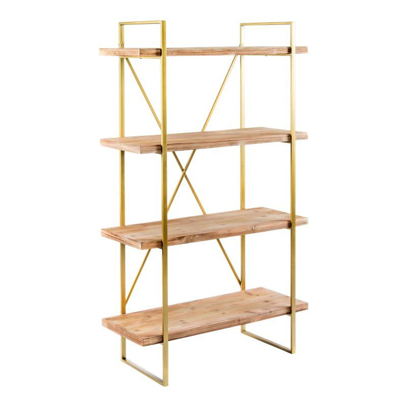 Emma Shelving Unit Etagere is part of Living Room Shelves Gold - New Etagere  Measurements 37 5 l x 16 5 d x 63 h Materials Metal, wood Color Gold and natural
