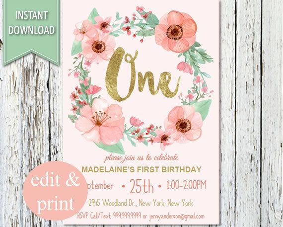 First Birthday Floral Invitation, 1st Birthday Watercolor Flowers - invitation card for ist birthday