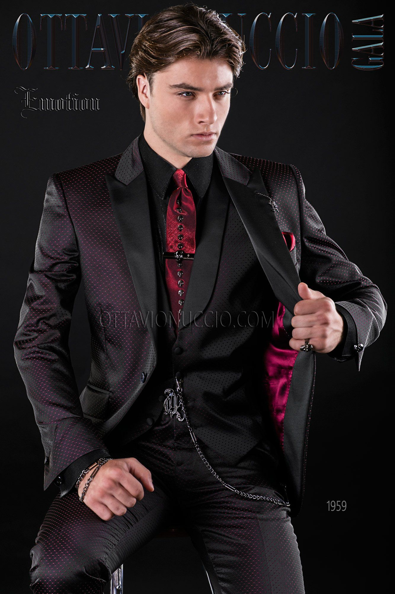 6d26d54accd7a6 Black and red Italian wedding tuxedo #groom #suit #luxury #menswear  #menstyle