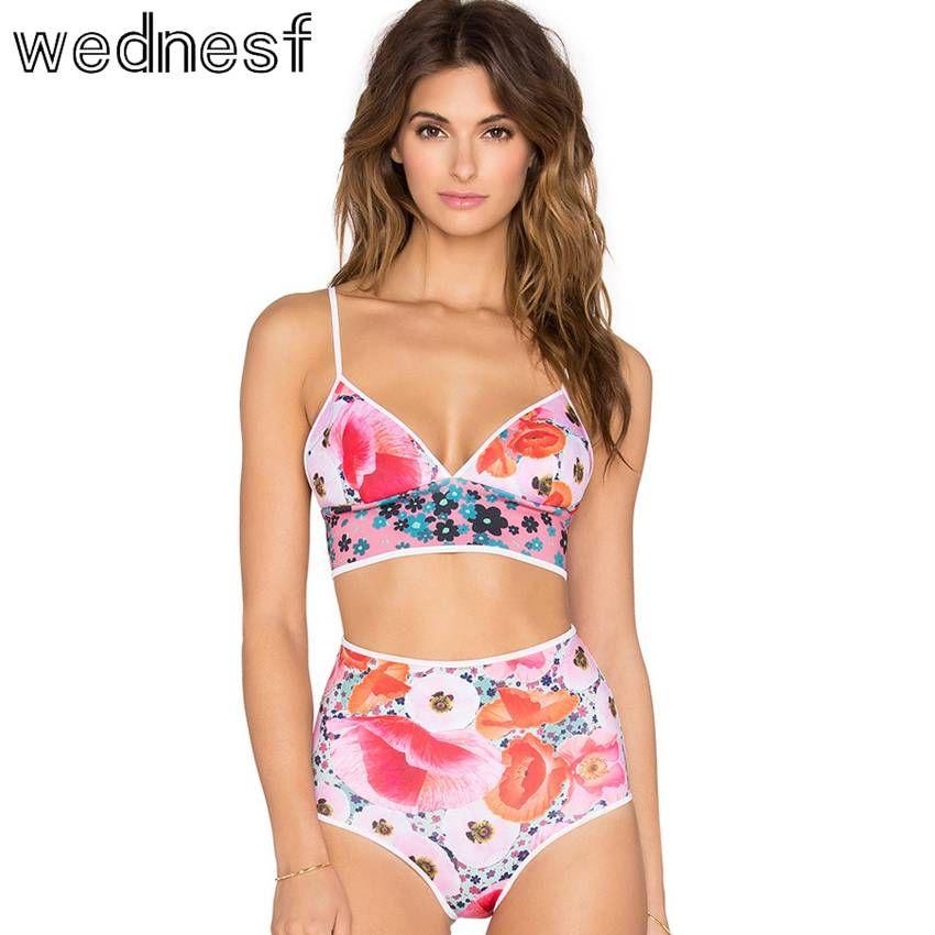 Women 2pc Floral Bikini Set Padded Pushup Swimsuit Swimwear Beach Tank Top Brief