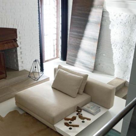 Italian Porta Armless Sofa With Table Botanico Collection