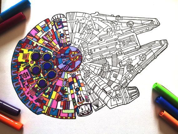 Millennium Falcon Pdf Zentangle Coloring Page Star Wars