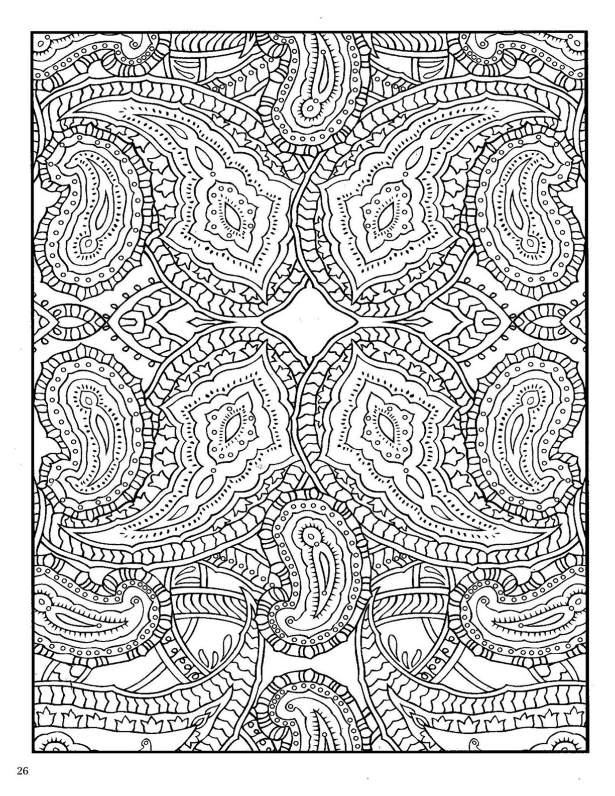 dover paisley abstract doodle zentangle coloring pages colouring