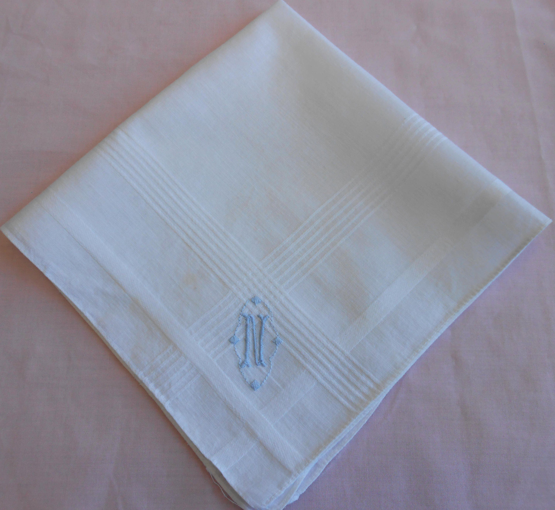Monogrammed embroidered hankie Linen handkerchief for ladies