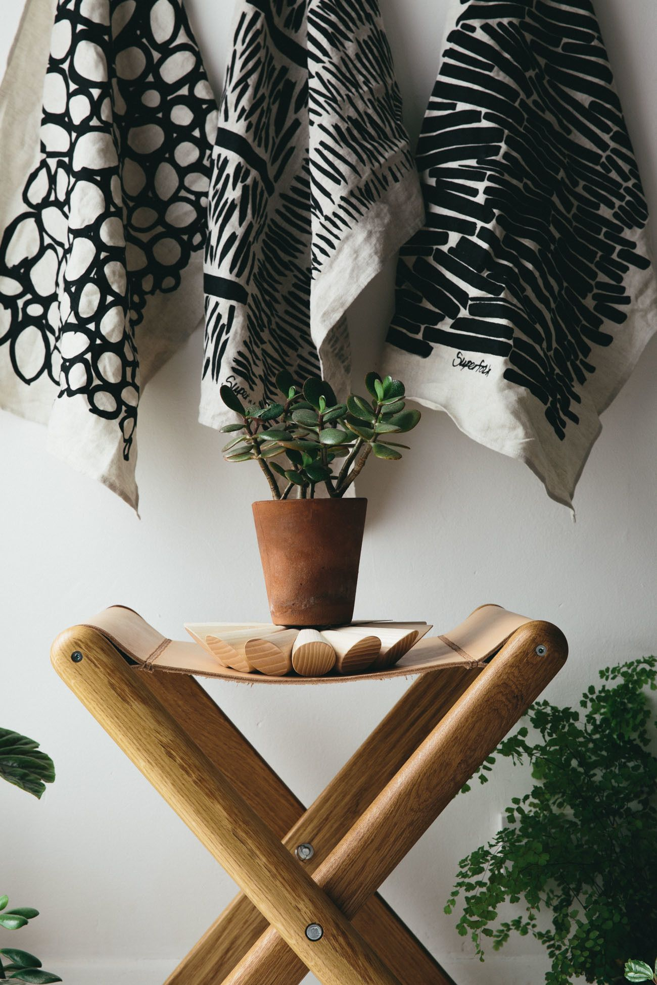 Terracotta Bad oak and leather folding stool terracotta pots and terracotta