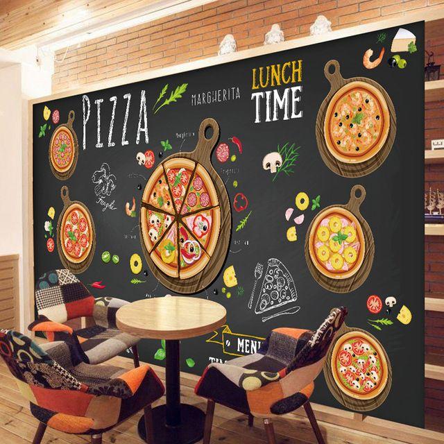 Custom 3d papel tapiz para paredes 3d pizza shop pared - Tapices para pared ...