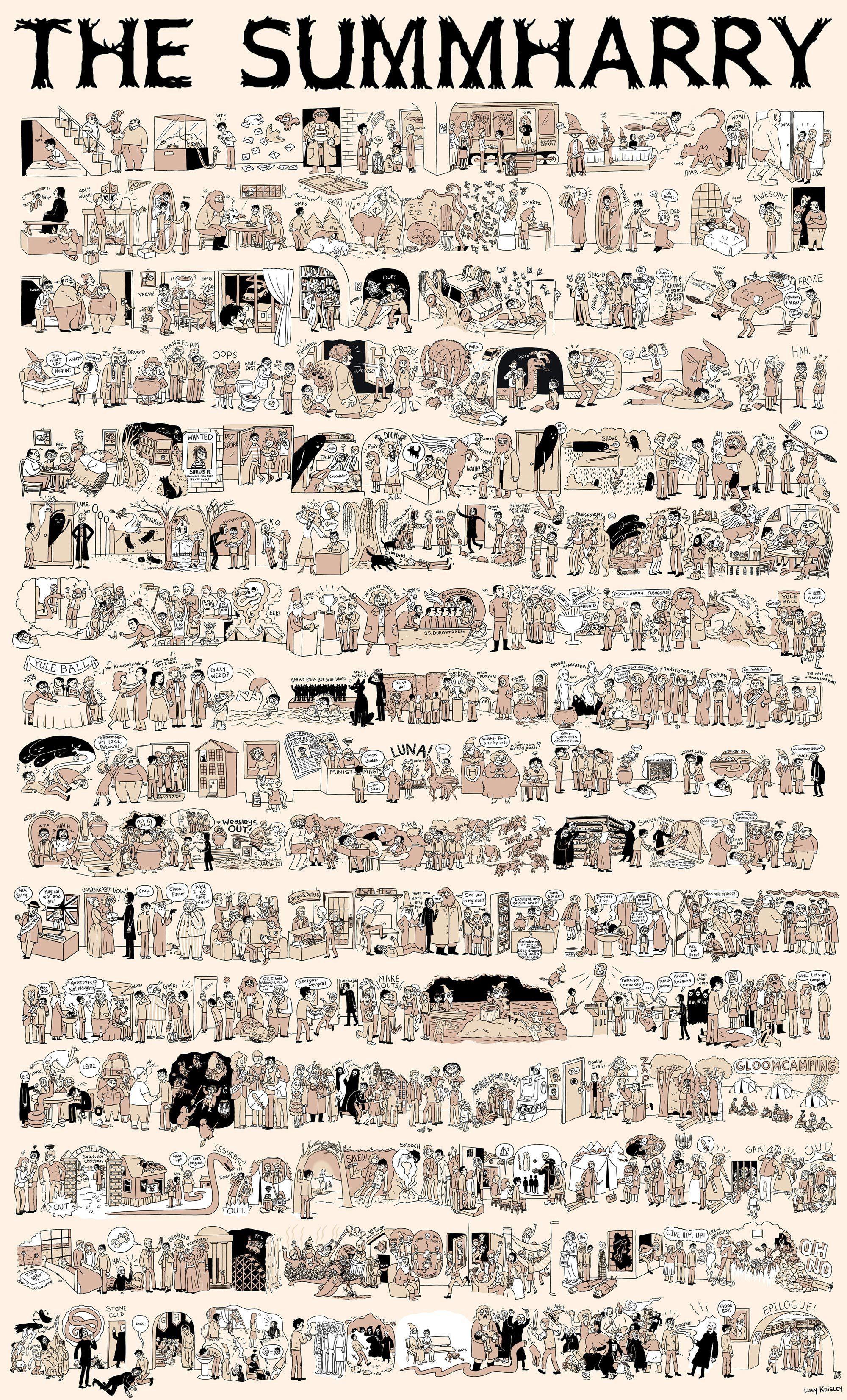 [comecogg] http://potterish.com/wp-content/2014/09/Sumharry.jpg [meio] Lucy Knisley é uma ilustradora, quadrinista e autora norte-americana que resumiu toda a história de Harry Potter em uma grande história em quadrinhos chamada The SUMMAHARRY. Os quadrinhos muito bem desenhados vão desde o armário sob a escada na rua dos Alfeneiros até o Epílogo na estação King's Cross. Para os fãs…