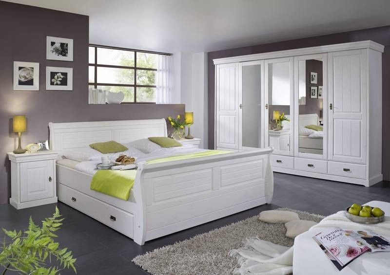 Schlafzimmermöbel Set im Landhausstil Weiß (3-teilig) Jetzt