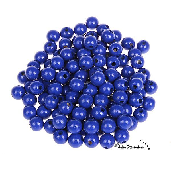 50 Holzperlen dunkelblau 10mm