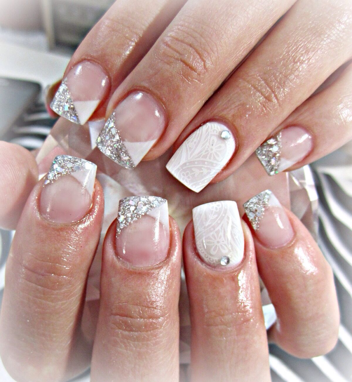 Silver and white acrylic nails | Acrylics | Pinterest | White ...