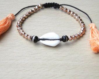 Tribal, Hippie, Boho, Beach Gold Beads Bracelet, Natural Cowrie Shell Bracelet, Thai Tassel Bracelet, Beach Ethnic Jewelry Nature Inspired