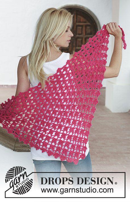 Granada / DROPS 113-26 - Crochet DROPS shawl with intricate flower ...