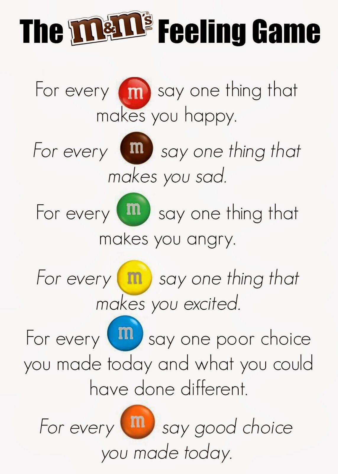 teaching kids about feelings using m ms – Feelings Worksheets for Kids