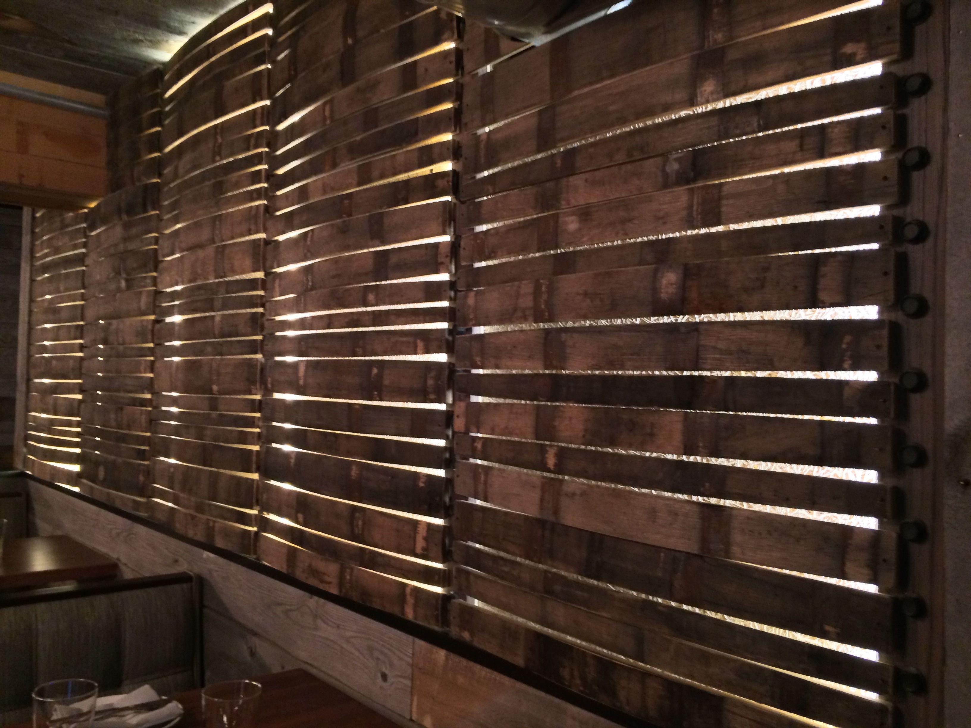Backlit Stave wall Alden  Harlow restaurant Harvard