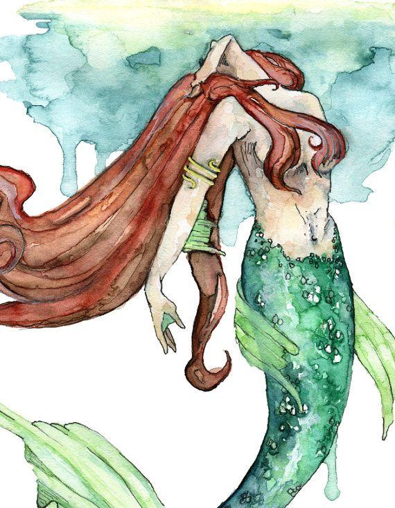Mermaid Painting Watercolor Painting Mermaid Print Mermaid Tail