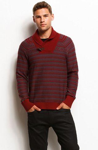 Shawl Collar Fair Isle Sweater - Sweaters - Mens - Armani Exchange ...